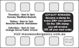 Mosswood Organics Loyalty Card